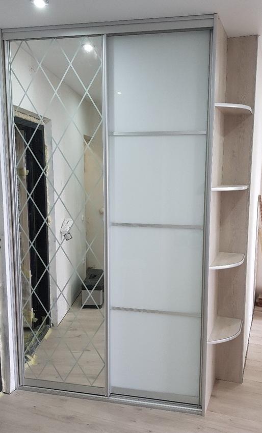Белые шкафы-купе-Шкаф-купе с зеркалом «Модель 387»-фото1