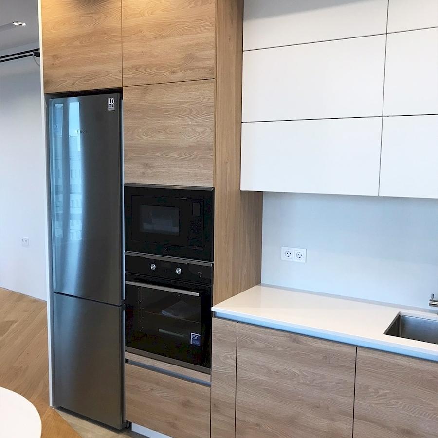 Белый кухонный гарнитур-Кухня из пластика «Модель 595»-фото4