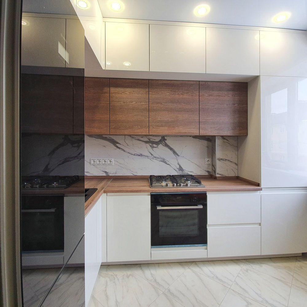 Белый кухонный гарнитур-Кухня МДФ в эмали «Модель 529»-фото2